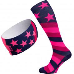 Kompressionsstrümpfe + Stirnband Eleven Stars Pink